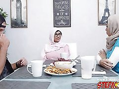 Julianna Vega seemed like she wants the bf for herself. She drops a s###n and goes under the table to deepthroat his dick. Mia Khalifa catches her in the action and next thing you know, there's a immense three-way going on