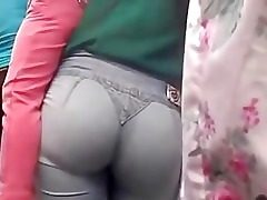 Perfect yam-sized ass in blue denim got in a street candid video
