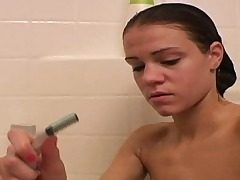 Nice Ally taking shower and shaving
