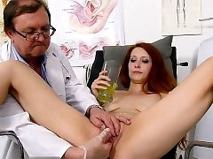 Redhead doctor widely opened and cum-shot