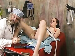 Messy doctor inspects a gal and screwed fuck stick