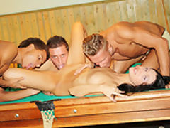 Dark-Haired plumbed firm on the pool table