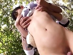 asian lil' teenager student pawed stuffed outside