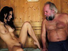 Latina jizzed by old fellow