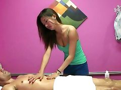Rich customer gets a peculiar approach in a rubdown session