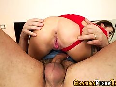 Teen whore riding gramps