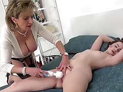 Lady Sonia teases her junior coworker with a magic wand