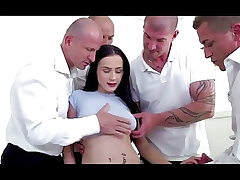 Bratty daughter dp gangbanged by father and all his friends