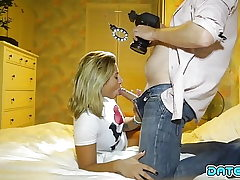 Date Slam - Blond beauty takes fountain down her mouth