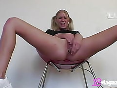 Young Platinum-blonde Allie Pierce Dildo Plows Culo In Sneakers!