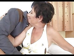 Gran gets fucked, licks butthole youthfull stud and takes a facial cumshot