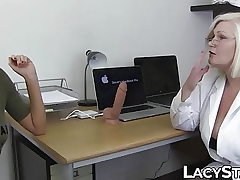 Doctor Lacey Starr studies 18yo with tongue and toys