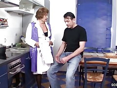 German Antique Granny Seduce to Fuck by Young Guy in Kitchen