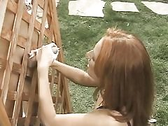 Small titted redhead  plays w cootchie while jerk