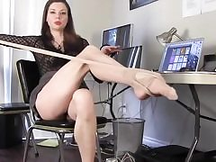 Insatiable stunner unclothes her pantyhose and is flashing her superb legs